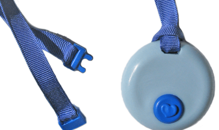 Chew Necklace and Clip-on Fidget: KidCompanions Chewelry Blue Circle Pendant