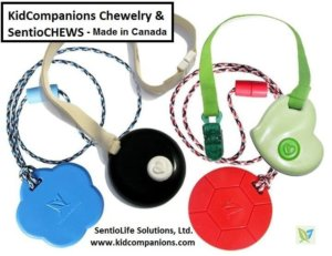 Our chewable necklaces or Clip-ons chewy mouth or hand fidgets called KidCompanions Chewelry or SentioCHEWS, are an ingredient in Sensory Diets and recommended items in a Sensory Box.