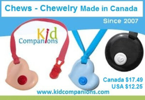 SentioLife Solutions, Ltd., the makers of KidCompanions Chewelry, also has a NEW super chew necklace, SentioCHEWS, for the more aggressive chewers.