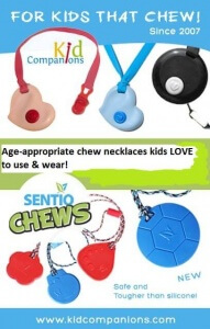 SentioLife Solutions' KidCompanions Chewelry and SentioCHEWS are chew pendants for all who must chew, bite, fidget because of sensory and/or focusing issues.