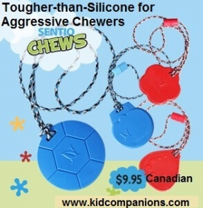 Tougher-than-Silicone SentioCHEWS are more durable than most of the chew pendants made with generic silicone sold on many special needs online web sites or at special needs stores.