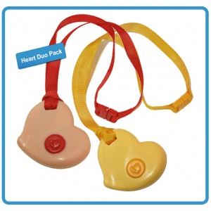 Here is very pretty duo-pack! Save 15% off a set of Pink and Yellow hearts with breakaway safety lanyards