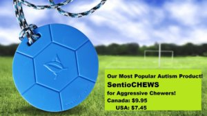 SentioCHEWS Soccer Ball our most popular chew necklace! Tougher-than-Silicone chews!