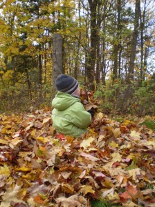 Boy playing in dry leaves - Ten Fun Fall and Winter Activities for Kids with Special Needs