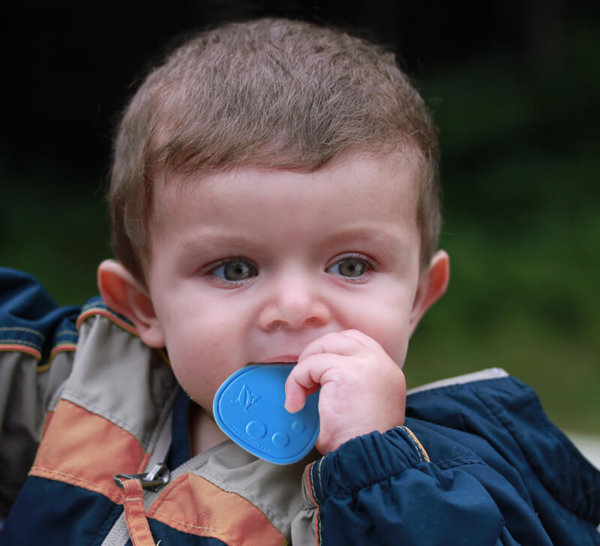 Boy with Blue Dot Drop Chewable Pendant