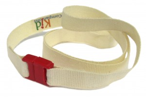 If you have a fabric chewer, the 100% organic cotton, undyed breakaway lanyards on our KidCompanions Chewelry is the best choice.