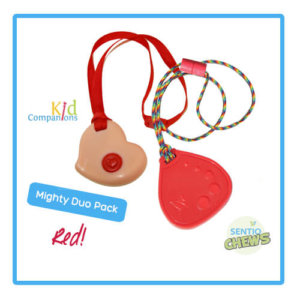Chewelry Duo pack! Save on KidCompanions Pink Heart and red Dot Drop.