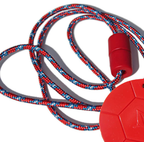 SentioCHEWS Soccer Ball with Red & Blue Paracord Breakaway Necklaces