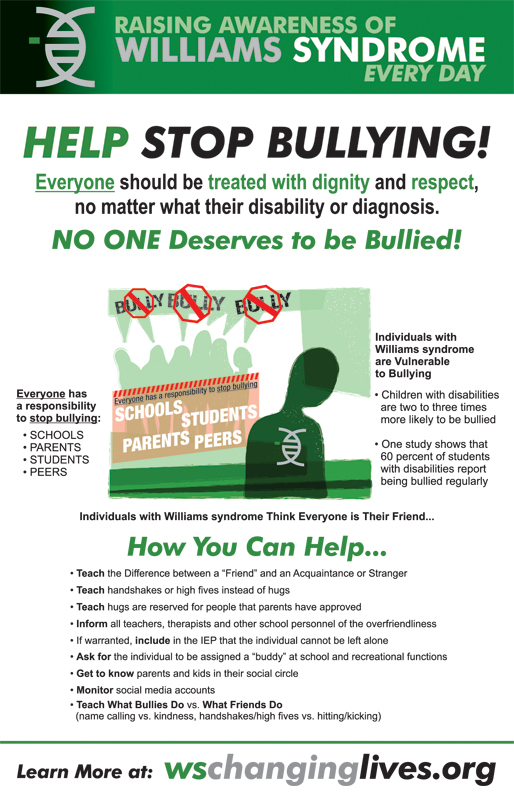 Infographic - Bullies by Williams Sydrome Changing Lives Foundation