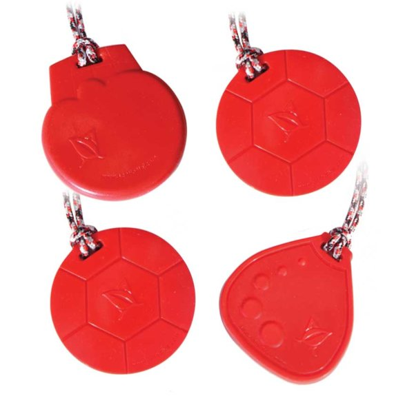 SC4r with 2 red Soccer Chewable necklaces