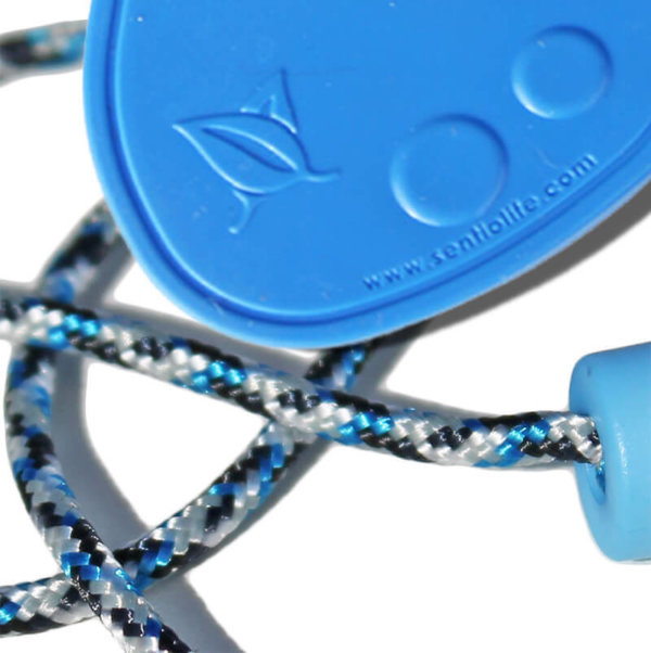 SentioCHEWS Blue Chewable Drop Necklace -Blue Camo Breakaway Lanyard.