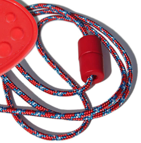 SentioCHEWS Chewable Drop Necklace -Red & Blue Breakaway Lanyard.