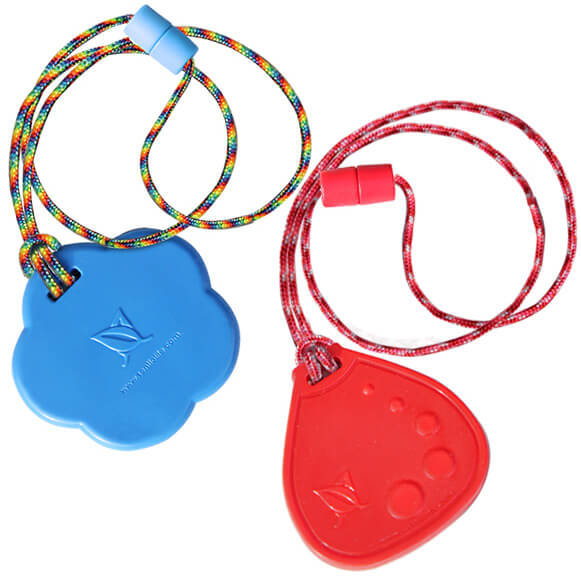 Chewelry Set with Blue Chubby Star and Red Dot Drop. Great Autism Products