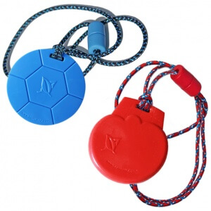 Chew Pendants -BLUE Soccer Ball & RED Ice Cream Duo