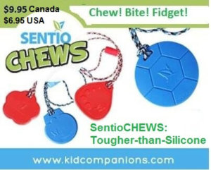 The second line of sensory tools she mentions in the interview was launched in November of 2013. These chew necklaces are called SentioCHEWS and are also made in Canada with the same safety features as their first chew pendants called KidCompanions Chewelry.