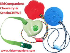 Tougher-than-Silicone SentioCHEWS or KidCompanions Chewelry designed, manufactured, and assembled in Canada since 2007. Stylish, Functional and Fun Chewables!