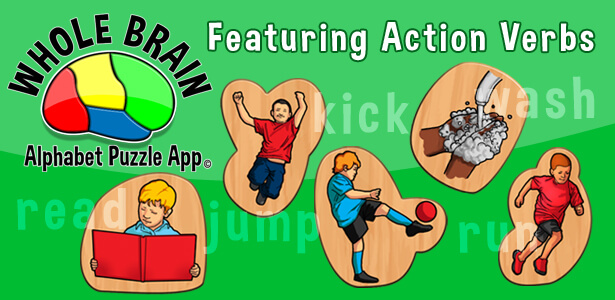 Action verbs - Whole Brain Edutainment: Speech Apps for Kids - ABC App for Kids